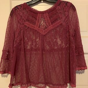 Free People Sheer Lace Top Medium